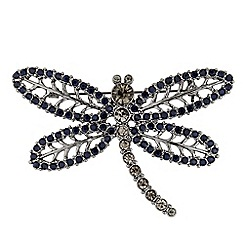 The Collection - Blue stone embellished dragonfly brooch