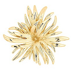 The Collection - Polished gold flower brooch