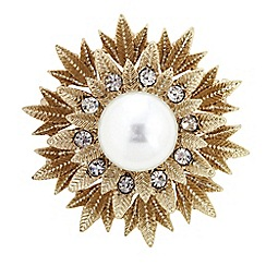 The Collection - Pearl centre flower brooch