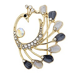 The Collection - Crystal enamel peacock brooch