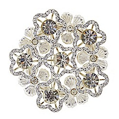 The Collection - Pave flower and crystal brooch