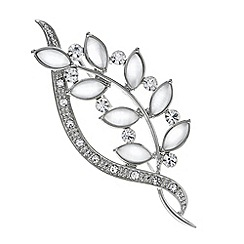 The Collection - Twisted leaf crystal brooch