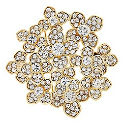 The Collection - Gold floral crystal brooch