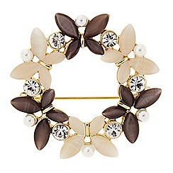 The Collection - Gold butterfly wreath brooch