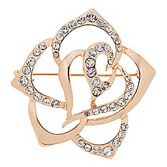The Collection - Rose gold open crystal rose brooch