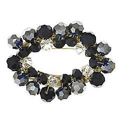 The Collection - Grey beaded oval brooch