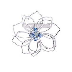 The Collection - Blue silver wire flower brooch