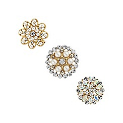 The Collection - Pearl floral brooch set
