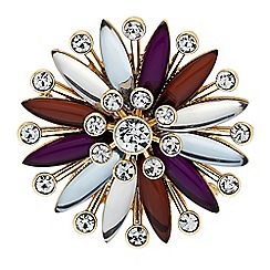 The Collection - Purple crystal starburst brooch