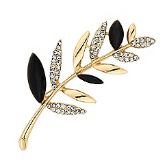 The Collection - Crystal leaf brooch