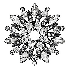 The Collection - Silver crystal floral brooch