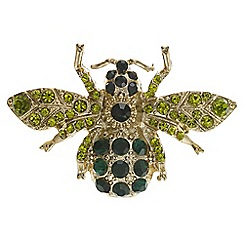 The Collection - Green crystal bee brooch