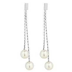 The Collection - Double pearl chain drop earring