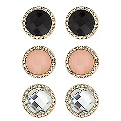 The Collection - Set of three 3 multicoloured stone stud earrings