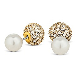 The Collection - Pearl and gold crystal ball front and back earring
