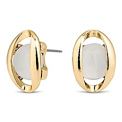 The Collection - Polished oval white stone surround earring