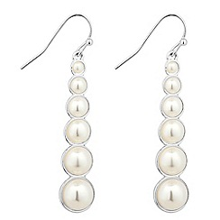 The Collection - Graduated pearl silver stick earring