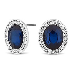 The Collection - Blue oval crystal surround stud earring