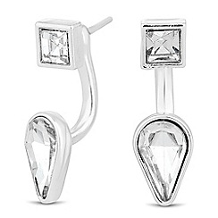 The Collection - Crystal square and peardrop swing earring