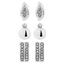 The Collection - Set of three polished and crystal stud earrings