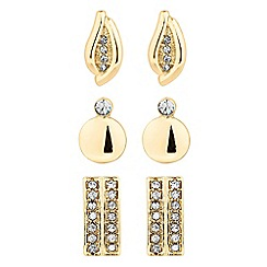 The Collection - Set of three polished and crystal gold stud earrings
