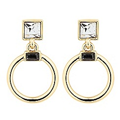 The Collection - Square crystal and circular drop earring