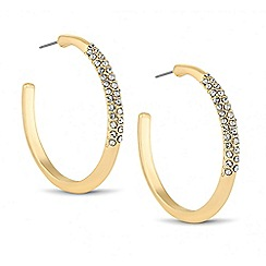 The Collection - Crystal embellished large gold hoop earring