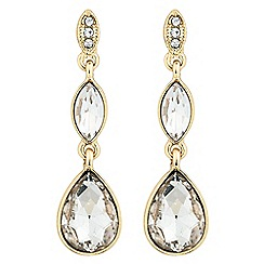The Collection - Double crystal gold teardrop earring