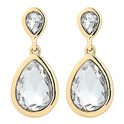 The Collection - Crystal peardrop gold surround earring