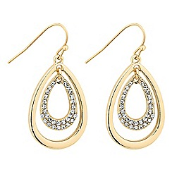 The Collection - Polished and crystal encased gold peardrop earring