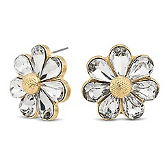 The Collection - Gold crystal flower stud earring