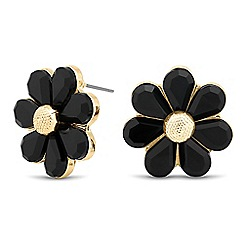 The Collection - Jet and gold flower stud earring