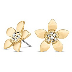 The Collection - Pearl and crystal 3-d flower stud earring