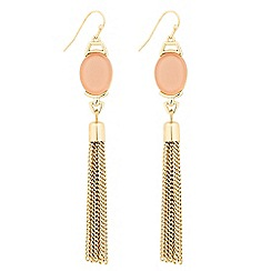 The Collection - Oval coral stone and tassel drop earring