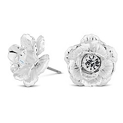 The Collection - Silver crystal flower stud earring