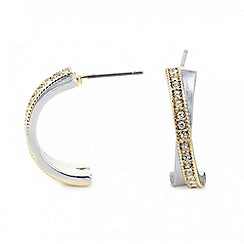 The Collection - Polished and crystal crossover half hoop earring