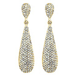 The Collection - Elongated gold crystal peardrop earring