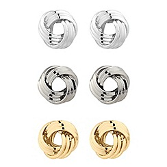 The Collection - Set of three 3 knot stud earrings