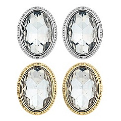 The Collection - Set of two mixed metal oval stud earrings