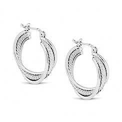The Collection - Textured silver hoop earring