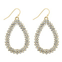 The Collection - Crystal embellished gold peardrop earring