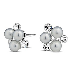 The Collection - Grey pearl and crystal cluster stud earring
