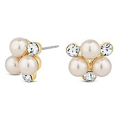 The Collection - Cream pearl and crystal cluster stud earring