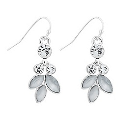 The Collection - Grey navette leaf drop earring
