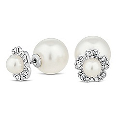 The Collection - Crystal pearl flower front and back earring