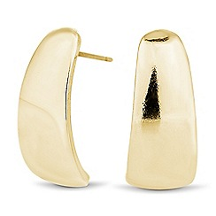 The Collection - Curved polished gold stud earring