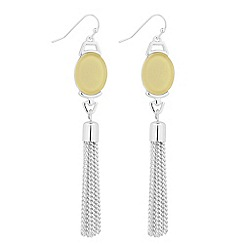 The Collection - Oval lime stone and tassel drop earring