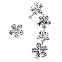 The Collection - Silver crystal flower earring set