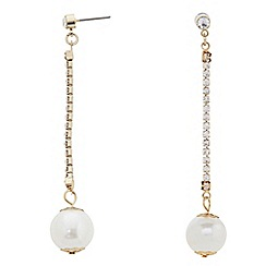 The Collection - Pearl diamante chain earring