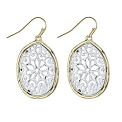 The Collection - Filigree two tone drop earring
